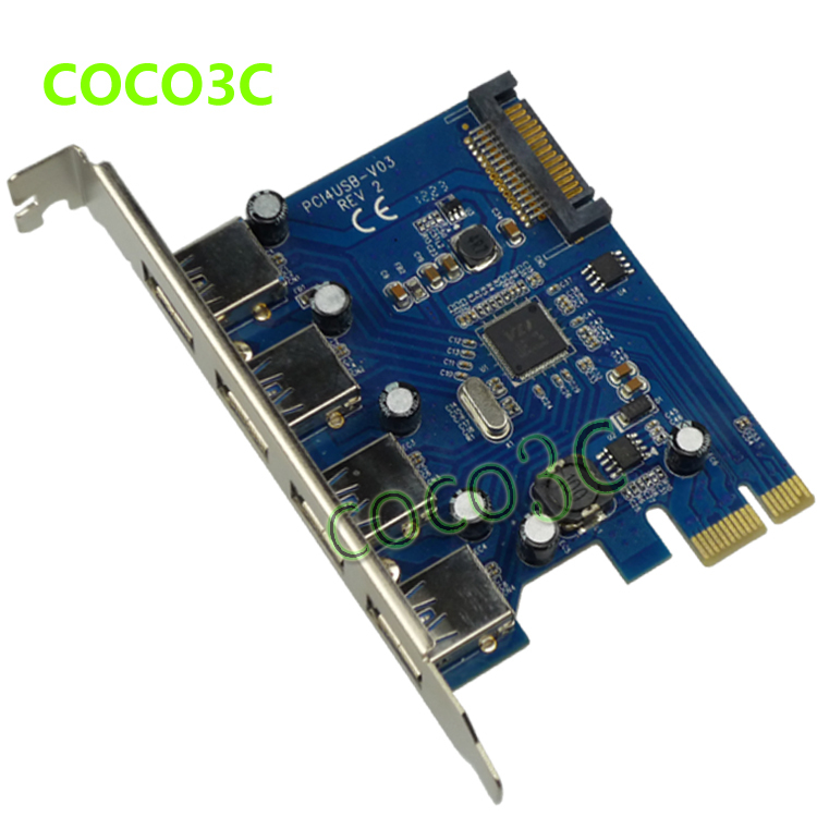 4 USB3.0 to PCIe Card , VIA chipset 4 port USB3.0 extender cards,PCI Express to USB3.0 adapter card(China (Mainland))