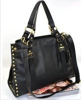 Black Rivets Handbags Rivets Shoulder Bag 2014 Women Casual Messenger Bag Totes Pu Leather Handbag  Bolsas Femininas