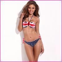 New British Flag Push Up Soft Pad Swimsuit Swimwear Bikini for Girls Sexy Halter UK Free Shipping