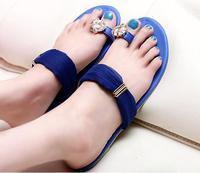 New 2014 elegant women lace princess chiffon big flat bottom slippers female shoes blue diamond  flashing casual plus size