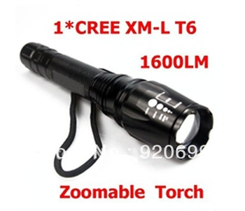 1800A Flashlight CREE XM-L T6 LED Flashlight 1600LM High Power Torch Zoomable Focusable Torch