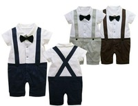 New arrives!! Cotton baby romper gentleman with belts/short sleeve grey and navy blue colors/ free shipping honey baby HB36