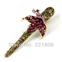 2013New European and American Vintage peacock hair clip Rhinestone Cross card