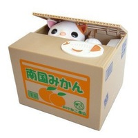 Free shipping Automated cat steal coin piggy bank,kitty saving money box,coin bank,money bank, kids gift,novelty toys A71