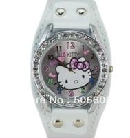 20PCS New Hello Kitty Leather bangle hello kitty gift watch,diamond watch,jewelry watch Gif W356I Free Shipping