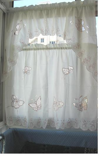 3PCS Butterfly embroided beige cream KITCHEN CURTAIN TIER & SWAG SET(China (Mainland))