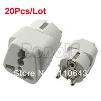 20Pcs/Lot 2 Pin Euro to Universal Power Plug Adapter Free Shipping 1272