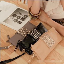 Simple Fashion PU Leather Handbag Rivet Lady Clutch Purse Wallet Evening Bag Free Delivery(China (Mainland))