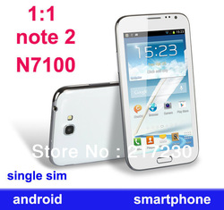 1:1 note 2 n7100 mtk6575 single core 1.2G CPU Android 4.0 smarphone 512m ROM 4GB RAM single sim card WCDMA wifi gps mobile phone(China (Mainland))