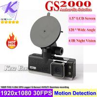 GS2000 GPS Ambarella Car DVR 1080P Full HD Car Black Box DVR Recorder Built In GPS Google Maps G-Sensor IR night Vision