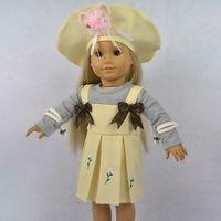 "Doll Clothes Fits 18"" American Girl Dolls, Doll Dress, Hat + Gray Shirt + Party Dress,3pcs,Girl Birthday Present, Xmas Gift, G03"
