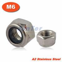 100pcs/lot DIN985 M6 Stainless Steel A2 Nylon Lock Nut