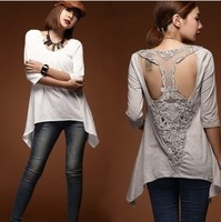 2013 new fashion women t- shirt, lace patchwork backless inregular hem lady shirt, free shipping wholesale