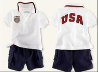 2014 new retail Children's clothing Set Baby Boy's polo Suit Short-sleeved shirt + Short Pants , USA letter sport suits,