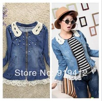 free shipping new women pearl collar jacket Spring autumn fashion water wash lace patchwork long sleeve denim coat tops 265