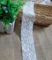Pretty Elastic Stretch Ivory Rose Flower Lace Trim , DIY hair accesory  Sewing Craft   5.5cm