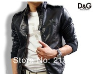 men'sleather suede jacket Korean catwalks shall Slim leather jacket coat (black, brown) PY6108 (Drop shipping support!)