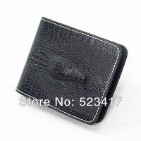 Trendy PU leather wallets Alligator matted black Cool fashion unisex punk leather wallets wholesale stylish rocker wallets