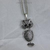 2 PCS hot sale bijoux  2013 jewelry vintage turquoise owl sova coruja pendant   necklace plated tibetan silver 925 free shipping