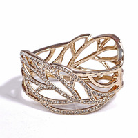 BS008 gold alloy stereo full rhinestone bird nest cutout leaves oval bracelet opening  2013 jewelry TC-12.99
