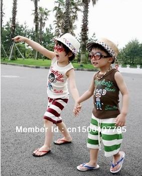 Wholesale 2013 new kids summer monkey boys clothing girls children's sports suit baby set vest shorts 5 sets / lot free shipping