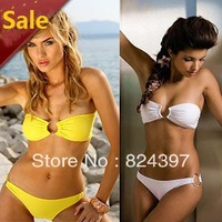 Freeshipping 2013Hot Sale Swimwear Women Padded Boho Solid color Bikini Top and Bottom Bikini Set New Swimsuit Lady Bathing suit