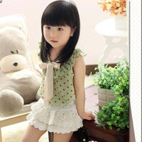 NEW Summer style childrens' clothing fit 3-7 yrs girls' blouse Wave point pattern and lace ornament kids' blouse
