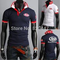 new man spring 2014  Free Shipping summer fashion shirts men printing Leisure wild men's short-sleeved polo shirt POLO men