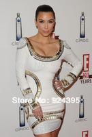 2013 WHITE CRYSTAL EMBELLISHED long sleeve bandage dress celebrity dress ladies' party Evening Dresses KIM KARDASHIAN black