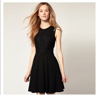 2013Lace nip-waisted sleeveless dresses  S-XL  Hepburn dresses