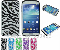 10pcs/lot Zebra Stripes Cover Case For Samsung Galaxy S4 i9500 2in1 pc+silicone China post free shipping