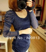 2013 New Fall T679 Flash Puff Fold Gauze Long Sleeve Bottoming Shirt T-Shirt, Support Wholesale