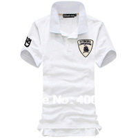 Free shipping 2013 New summer Lamborghini's embroidery armband lapel short sleeve polo shirt  Tees Plus size M-XXXL 6color B9