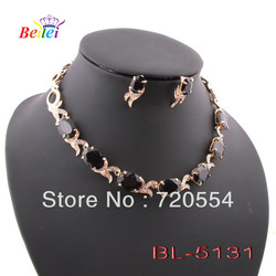 Free shipping Min.order $15,18K gold plated chains for neckalce,precious zircon stone black zircon wedding jewelry sets(China (Mainland))