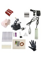 Free shipping Cheap beginner Complete Beauty Tattoo Kit beauty Machine Black Ink combine Power system Needles Grip