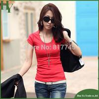 X1 Wholesale Womens Tee Shirts Six Solid Color Fashion Cotton Plain Short Sleeve T Shirt