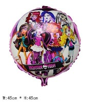 "50 PCS 18""  Round MONSTER HIGH school Helium balloons kids birthday party decorations Inflatable toys gifts for children games"