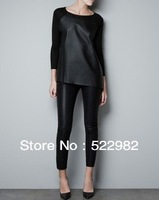 Free Shipping 2013 New Ladies' Round Neck Long-Sleeved Loose Splice PU Leather Blouse/Knitting  top Multicolor Casual  cs28