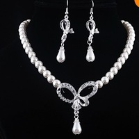 Charms Lady  Bowknot  Rhinestone Tassel  Ivory  Imitate Pearl  Necklace Earring  Set  Wedding Bridesmaid  Party Jewelry
