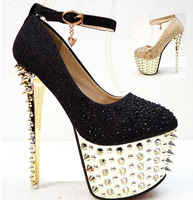 2013 Spikes Shoes Sexy Women&#39;s Pumps 16cm High Stiletto Heels Platform Rhinestone Party Dance Shoes Black Gold Rivet Pumps  34