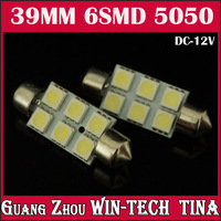 Free Shipping 10/lot  39mm 6SMD 5050SMD DC12V Interior Festoon car lamp LED Bulb license plate light door light boot light