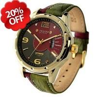 Julius 033 Fashion calendar men's brand wristwatch mix match double genuine leather Watch