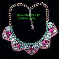 Fashion 21 Brand HQ Gold plated Chain 5 pcs Crystal Mix flower Statement Collar Choker Bib Necklace Women Jewelry Item,AF937