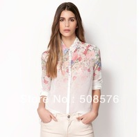 2013 New fashion womens' Floral print chiffion blouse shirt vintage OL business work blouse elegant casual brand designer tops