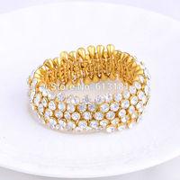 2014 Fashion Design Jewelry Shiny Rhinestone Crystal Elastic Bracelet 18K Gold Plated Charm Bracelets Women Bangle
