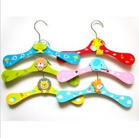 Free shipping,10pcs/lot cartoon animal children hanger baby colorful wooden hanger baby hanger SW026