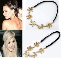 Fashion Gold Leaf Headband Women Girls Alloy Leave Grecian Garland Forehead Hair band Headband Gold Olive Branch Accessory
