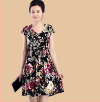 free shipping 2013 women's v-neck short sleeve floral print dress milk silk  plus size range from L-XXXXL