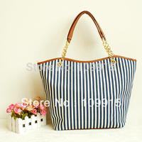 Hot Women Street Linen Stripe Tassel Hobo Shoulder Bag Handbag Zip SP0244 For Freeshipping