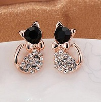 2014 Korean Jewelry Imitate Diamond Cat Cute Bow Stud Earrings For Women Jewelry Wholesale XY-E199